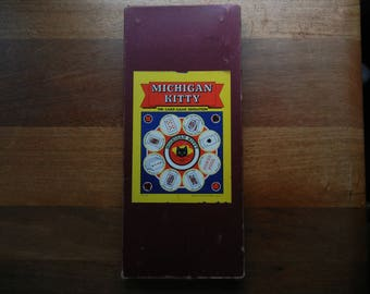 Michigan Kitty by Transogram ~ 1938 ~ Dice and Card Game with Double Sided Game Board