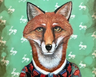 "Elizabeth Foster original painting ""Ms Rosa Red Fox"" 16""X20"""