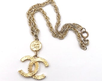 Chanel Vintage Gold Plated Textured CC  Necklace