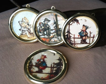 """Vintage 60's """"M J HUMMEL""""  WALL ORNAMENTS / Pictures Set of 4 Drawings - Switzerland"""
