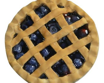 Fake Pie With Lattice Crust In Blackberry - Farmhouse Fake Food - Fake Pie Prop