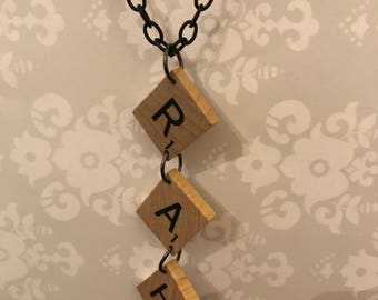 Personalized Handmade Vintage Scrabble Initial Drop Necklace