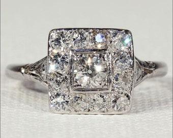 Art Deco Diamond Engagement Ring, Square Halo Ring in Platinum, Vintage
