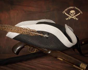 Black Pirate Tricorn Hat, Straw Hat, Pirate Tricorn, Pirate Hat