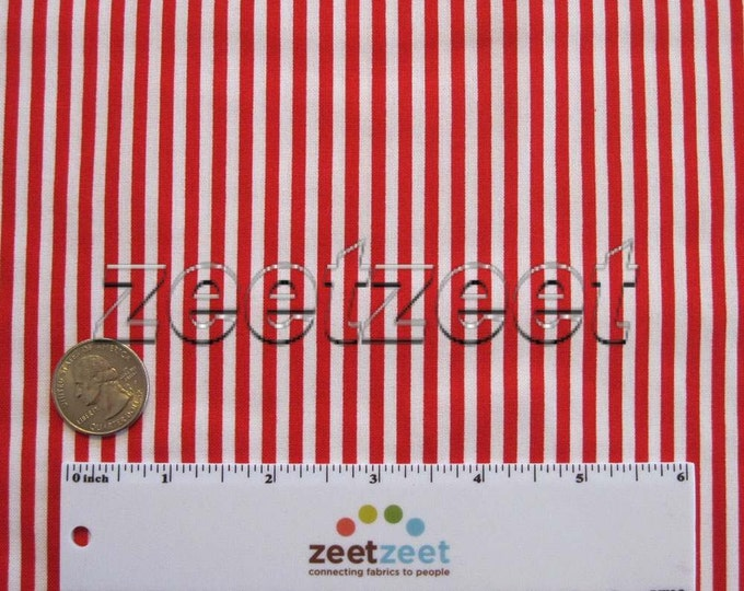 """1/8"""" Wide STRIPE Red & White - Stripe Cotton Quilt Fabric by the Yard, Half Yard, or Fat Quarter Fq Christmas Holiday"""