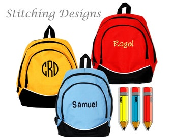 Toddler Backpack, Pre-school backpack, Small backpack, Almost Indestructible RED, YELLOW, LTBLUE with Name Included Boy or Girl