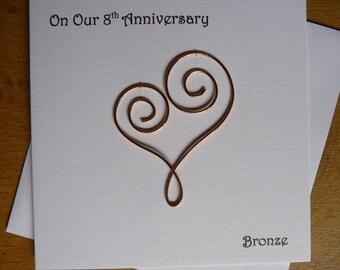8th anniversary card eight years bronze wedding 8 years marriage