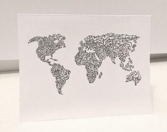 World Map Card Arabic Calligraphy Original any occasion set (blank inside, folded card)