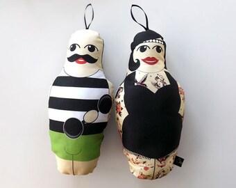 Tattooed Lady & Muscle man dolls