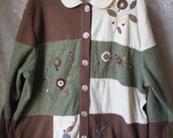 TEDDI Women's Fall Leaves Christmas Cardigan Sweater Beaded Embroidery Size 2XL