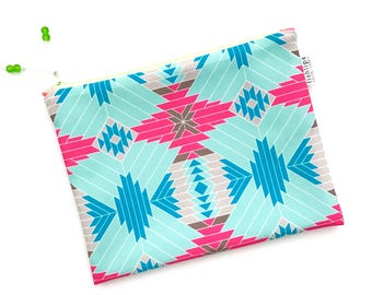 Aztec Tribal Wet Bag, Water Resistant Bikini Bag, Aqua Pink Modern Zipper Pouch, Recycled Canvas, Wipe-able Handmade Gift, Cloth Diaper Bag