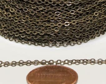 12 ft Antique Bronze Chain - 2.4x1.7mm SOLDER Chain - Antique Brass little Oval Flat Soldered Cable Chain - Bulk Wholesale Chain - from USA