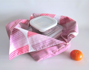 Lunch bag, Azuma bag, Bento bag, Japanese lunch bag - Pink stripes and circles - Small
