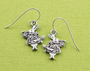 White rabbit earrings, sterling silver ear wires, alice in wonderland, alice white rabbit, charm earrings, literary gift, teenager gift idea