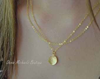 Multi Strand Necklace, Hammered Disk in Gold or Silver