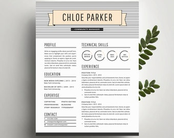 Professional Resume Template and Cover Letter Template for Word   Digital Instant Download   DIY Printable 4 Pack   The Chloe   Modern CV