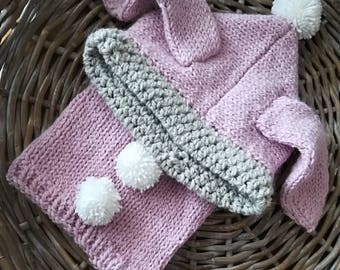 Pink Bunny hood in alpaca and wool, warm and soft knitted with interchangeable flowers, size 3-6 years