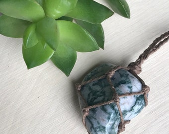 Earthy Tree Agate Necklace - Handmade Healing Crystal Necklace - Healing Stone Necklace - Earthy Boho Necklace - Hippie Style Jewelry Druid