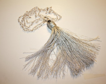 Silver Tassel and Crystal Bead Necklace