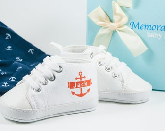 White anchor high tops, Baby Boy Shoes, Personalized Baby Shoes, Baby Shoes, Infant Shoes, Soft sole, Baby Gifts, Personalized Baby Gift