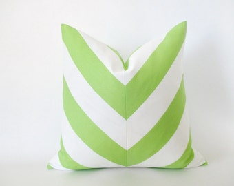 Pillow Cover Mitered Chevron Lime Green White Stripes Indoor Outdoor
