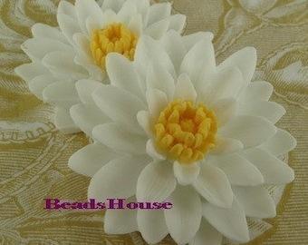 652-01-850-CA 2 Pcs Pretty Classic Big Chrysanthemum Cabochons - White w/ Yellow