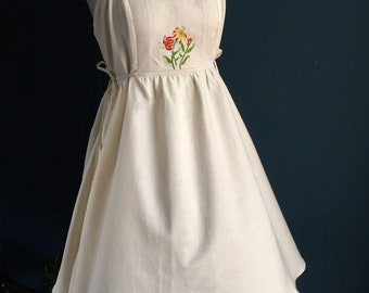 Women's embroidered summer dress | antique cloth + certified organic silky natural cotton, inside pockets, 1940s design, lily flowers.