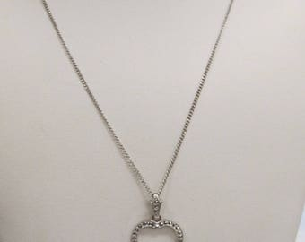 Vintage Sterling Silver Marcasite Heart Necklace W #715