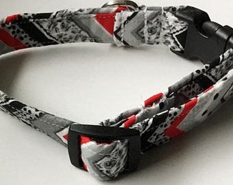 Red and Black Chevron Male Dog and Cat Collar
