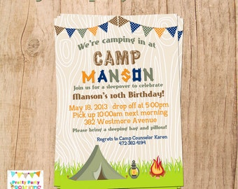 Camping invitation camping birthday invitation sleepover boy camping invitation campingsleepover party you print filmwisefo