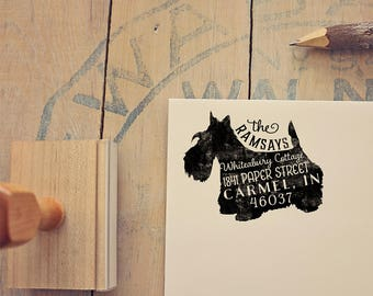 Scottish Terrier Address Stamp, Scottie Dog Return Address Stamp, Dog Lover Gift, Rubber Stamp, Personalized Pet Address Stamp