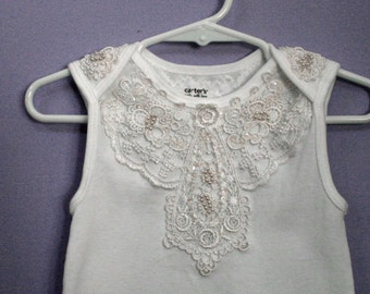 Baby Bodysuit #315, Infant Lace Top, Baptism, Blessing, Wedding, newborn to 24 months