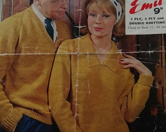 Vintage Emu His and Hers Sweater Knitting Patterns -  Design no. 4273