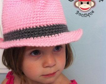 Crochet Classic Fedora Pattern Newborn Infant Toddlet Child Teen Adult