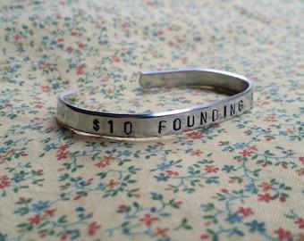 10 Founding Father Alexander Hamilton Musical Handstamped Aluminium Cuff Bracelet