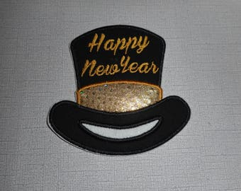 Happy New Year Ready to Ship Free Shipping Machine Embroidery iron on applique