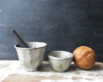 2 old cast iron mortar and pestle apothecary pharmacy decor vintage silver painted small bowl vase planter