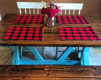 Red Plaid & Burlap Placemats- Reversible/Double Sided- Cabin Decor- Farmhouse Decor- Fall/Winter/Holidays