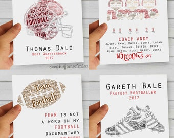 Custom Gift for Football Coaches / Teams / Players / Fans - Printable Word Art. Perfect Gift for Anniversaries, Retirement, Graduation
