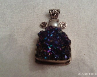Sterling Silver Druzy Pendant with Shades of Purple and Blue
