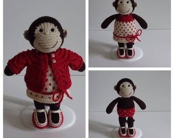 Hand Knitted Little Monkey Girl In Red.
