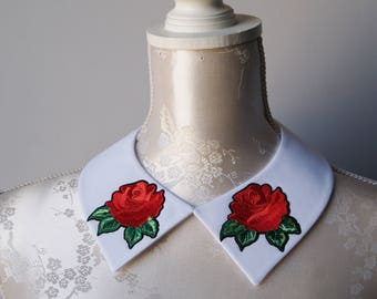 White collar necklace with embroidery patches red flowers roses detachable peter pan collar removeable accessories for women