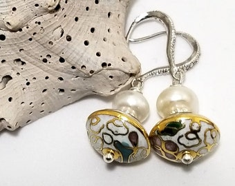 Chinese Porcelain adorned with fresh water Button Pearls and elegant drop Crystal Ear Wires #609