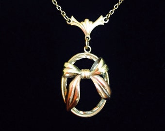 Beautiful Gold Filled Lavalier Pendant Necklace with Rose Gold Bow