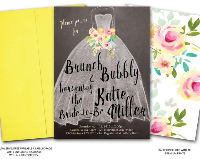 Brunch and Bubbly Invitation // Wedding Dress //Chalkboard Invitation // Floral // Yellow // Peach // Pink // Pastels // MILAN COLLECTION