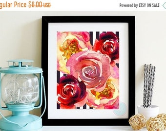 13% OFF SALE- Rose Abstract Wall Home Decor Pink Red Floral Watercolor Printable Digital Download Valentine's Day Poster Mother's Day Gift N