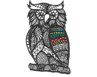 Owl Bird Animal Colouring Design Children Adult Zen Art Printable Digital Download Coloring Page
