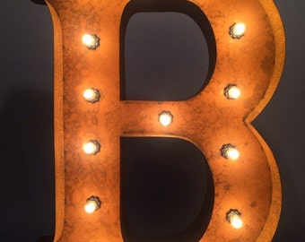 """24"""" Vintage Marquee Light Letter B (rustic) 24"""" Free Shipping"""