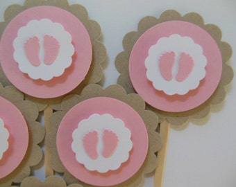 Baby Footprint Cupcake Toppers - Pink, White and Tan - Girl Baby Shower Decorations - Gender Reveal Party - Set of 6