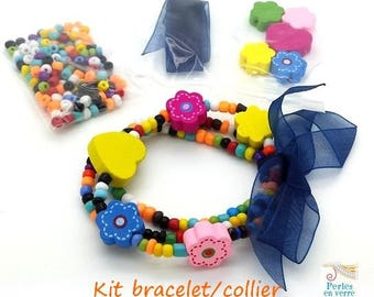 Blue Princess Kit! Seed beads bracelet/necklace, wooden beads and Ribbon (kit110)
